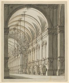 Vaulted Hall with Candelabra design by Artist: Ferdinando Galli Bibiena (Italian, Bologna 1657–1743 Bologna) Date: 1675–1743