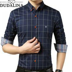 73d5db13b04 Male Plaid Shirt Without Pocket Men Clothes Slim Fit Men Long Sleeve Shirt  Men Casual Men Shirt Social Plus Size