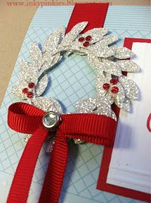 Beautiful wreath made with the branches of the Bird punch and silver glimmer paper!!