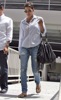 Max Jeans, love the boyfriend jean style Halle Berry