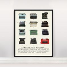 Call it typecasting: twelve famous authors represented by their most beloved machines. #etsyfinds