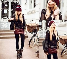 Educate Elevate Beanie, Gypsywarrior Skirt, Stelly Blouse, Unif Leather Leo Jacket, Soletruck Boots, Sheinside Bracelet - Stop saying  i wish start saying  i will ! - Lina ♡