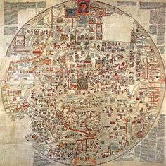 """The largest known late medieval world map was the """"Ebstorf Mappa Mundi"""". This map named for the Benedictine monastery in Ebstorf Germany where it was found in 1830. The map was most likely produced in the middle of the thirteenth century. It follows the TO form and measures 3.58 x 3.56 meters. Unfortunately the map was completely destroyed during the Second World War."""