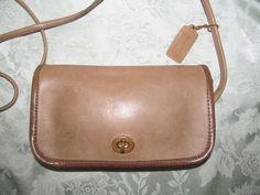 Coach Vintage Brown Leather Small Flap Shoulder Bag Handbag New York City Usa