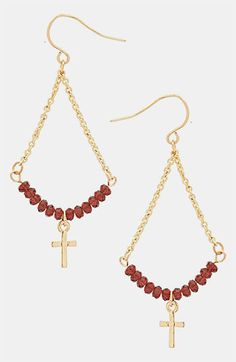 Topshop Beaded Cross Earrings | Nordstrom Beaded Cross, Cross Earrings, Religious Jewelry, Jewelry Making Beads, Dangles, Topshop, Gold Necklace, Nordstrom, Chain