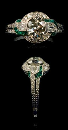 Tiffany & Co. An Art Deco platinum, diamond and emerald ring, New York, circa 1925.