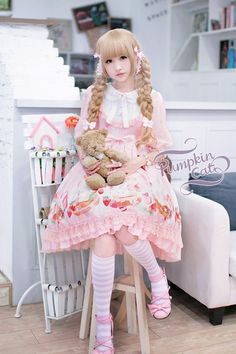 Pumpkin Cat ~Spun Sugar Rabbit~ Lolita OP Dress Middle Sleeves Version $126.99 - My Lolita Dress