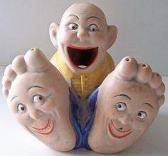 Vintage-Hand-painted-Happy-Feet-Comical-Man-Incense-Burner-Japan