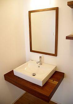 無垢ウォルナットのかっこいい洗面台壁排水-オーダーメイド製作例2012-6|丸萬(京都の木材屋) Washbasin Design, Cozy Fashion, Home Reno, Diy Furniture, My House, Sink, House Design, Bathroom, Interior