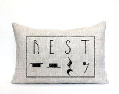 """music teacher gift, music teacher pillow, teacher appreciation, rest pillow, christmas gift - """"The Rest"""""""