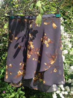 Made to order ballet wrap skirts, gold and grey floral with grosgrain ties
