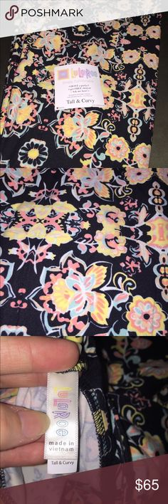 Nwt LuLaRoe TC black w/cream, pink, blue flowers Nwt LuLaRoe TC leggings. Amazingly gorgeous pair!! Solid black background with a bright cream, some pinks, blues a hint of orange flowered pattern. These colors will allow this to be worn all year long! Throw on some boots and an Irma for fall, or wear under a black Carly for winter, roll them into capris with sandals and a classic for spring and summer. Can't go wrong! Smoke free home. Feel free To submit and offer, No trades! LuLaRoe Pants…
