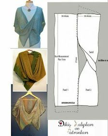 Wrap Pattern Pattern Cutting No Sew Cape Sewing Patterns Free Clothing Patterns Dress Patterns Short Frocks Fabric Manipulation Sewing Clothes Sewing Hacks, Sewing Tutorials, Sewing Crafts, Sewing Projects, Sewing Tips, Sewing Ideas, Tutorial Sewing, Knitting Projects, Diy Clothing