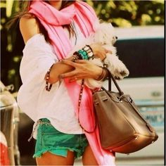 The green shorts, the scarf, the accessories, the dog- perfection.