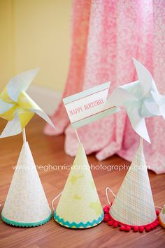 DIY pinwheels and party hats I made for my Daughter's 3rd birthday