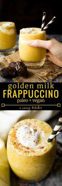 Golden Milk Frappuccino - a naturally sweetened frosty treat with anti-inflammatory benefits | Paleo + Vegan