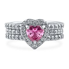 #Engagement Wedding #Ring Set PINK HEART 925 Sterling Silver Cubic Zirconia Size 4 5 6 7 8 9 #HeartSet