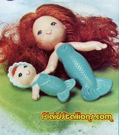 Sea Wees! A bath doll from the early 80s. She came with a baby, a comb, and a lily pad sponge for floating. :) The ones that came out later also had pets.
