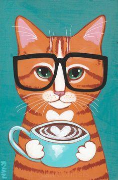 A Little Ginger Cat Latte of Love Original Coffee Cat Folk Art Painting by - Design interests Coffee Painting Canvas, Canvas Wall Art, Frida Art, Mug Art, Coffee Cat, Coffee Mugs, Ginger Cats, Cat Drawing, Watercolor Art