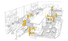 """Haworth white paper researchA """"collaborate"""" culture is best nurtured by a flexible environment with an organic layout medium levels of enclosure informal spaces and a low ratio of individual to group spaces. Commercial Architecture, Commercial Interior Design, Office Interior Design, Studio Interior, Space Interiors, Office Interiors, Office Floor Plan, Urban Design Concept, Workspace Design"""