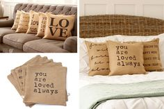 A Pillow's Worth 1,000 Words - Burlap Statement Pillow Covers