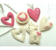 Felt ornament pack - set of 6 - Heart ornaments - white and pink - Valentine's day/Birthday/Christmas/Housewarming home decor, $25.0
