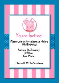 MDS Peppa Pig Party Invite Peppa Pig-001 www.magpiecreates.com