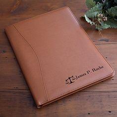 Personalized Tan Leather Portfolio - Legal Style - 2449