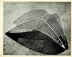 Model for the roof structure of the Centre National des Industries et Techniques in Paris, 1955 architecture model design inspiration Folding Architecture, Detail Architecture, Parametric Architecture, Pavilion Architecture, Parametric Design, Architecture Diagrams, Drawing Architecture, Architecture Portfolio, Shell Structure