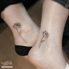 petite marigold tattoo on ankle for brodie