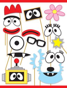 Yo Gabba Gabba! Inspired Printable Photo Booth Props - Muno, Foofa, Brobee, Toodee, Plex and DJ Lance Rock - DIY, Digital by PartiPartieParty on Etsy https://www.etsy.com/listing/208548610/yo-gabba-gabba-inspired-printable-photo