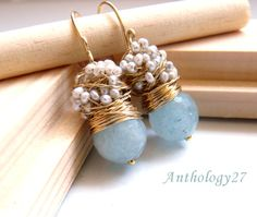 The Laurent - fresh earrings with big faceted aquamarine and silver sea pearls by anthology27 on Etsy https://www.etsy.com/listing/60446285/the-laurent-fresh-earrings-with-big