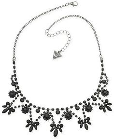 GUESS Hematite-Tone Jet Stone Frontal Necklace - Jewelry & Watches - Macy's