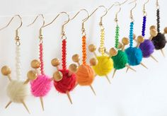 EAR KNITS - little balls of yarn with needles earrings!  Must have ...