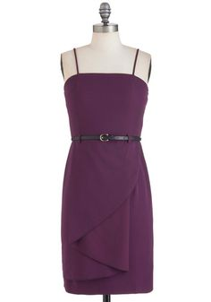 Strike a Concord Dress - Purple, Solid, Spaghetti Straps, Belted, Mid-length, Cocktail, Sheath / Shift