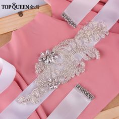 TOPQUEEN FREE SHIPPING S31 crystal ribbon fascinating Wedding Belts embroidery handsmade applique Bridal Belts Bridal Sashes #Affiliate