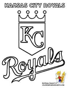 Free Coloring Page Baseball Champions Kansas City Royals See And Match Logo Colors