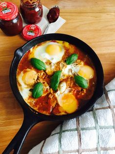 Shakshuka: eggs cooked over tomato sauce