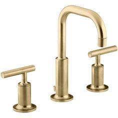 KOHLER K-14406-4-BGD Purist Vibrant Moderne Brushed Gold Two Handle Widespread Bathroom Faucets  eFaucets.com