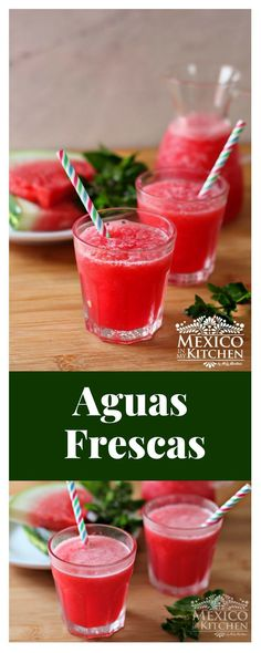 How to make Aguas Frescas │Aguas Frescas are the typical Mexican household every day's beverages. Usually, the drink is prepared using the fruits available according to the season and, sometimes, depending on the family's economy Authentic Mexican Recipes, Mexican Food Recipes, Real Mexican Food, Mexican Drinks, Fruit Drinks, Alcoholic Drinks, Beverages, Drinks Alcohol, Cocktails