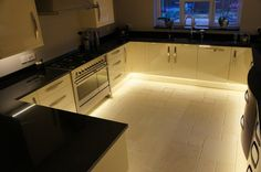 What I like: Lighting is hugely important in making a room feel moody. Look how it changes this kitchen.