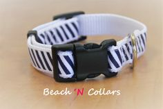 Navy and White Diagonal Striped Dog Collar by Beachcollars on Etsy