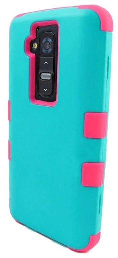 myLife Electric Blue + Deep Pink {Impact Design} 3 Piece Neo Hybrid Case for the for the LG G2 Smartphone (External Rubberized Snap On Hard ...