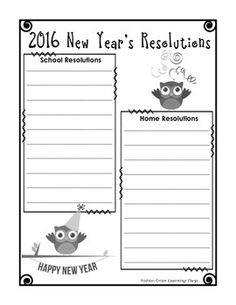 new years resolutions for kids graphic organizers to help set home and school goals student