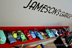Toy Car Storage from Ikea Picture Rails - C'mon Get Crafty
