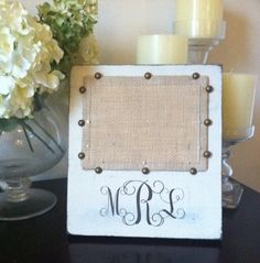 Personalized Burlap Picture Frame by PaisleyPolkaDotCo on Etsy, $25.00