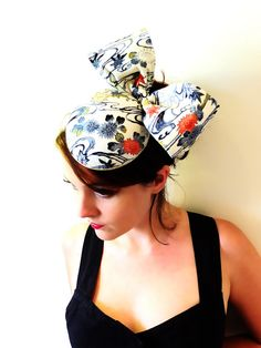 Vintage Style Cocktail Hat - Pillbox Hat - Vintage Kimono - 1950s Fascinator Ascot by LoveMimo on Etsy. £70.00, via Etsy.