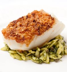 Luke Holder's macadamia-crusted cod recipe is steeped in Italian flavours, pairing the beautiful black cod with orzo and salsa verde for a light and tasty dish.