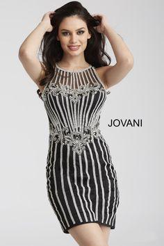 dc1f961abb7 Jovani 55859 Sheer Beaded Cocktail Dress