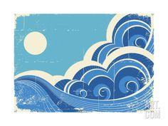 Abstract Sea Waves Grunge Illustration Of Sea Landscape Print by GeraKTV at Art.com